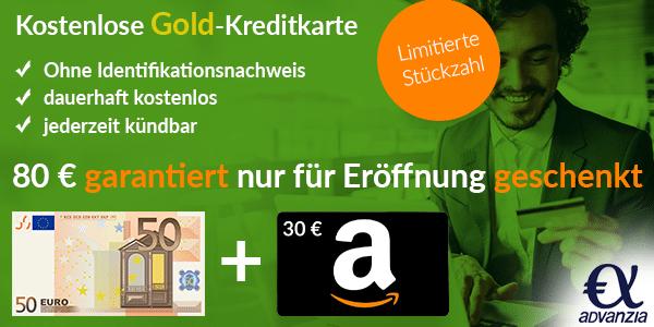 Knaller! Kostenlose Advanzia Mastercard Gold mit 80€ Prämie   nur für Neukunden