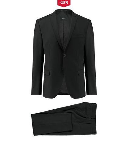 newest biggest discount most popular Top! S.Oliver Cosimo Flex Black Label schwarzer Herren Anzug ...