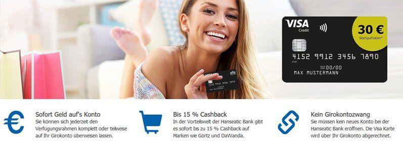 TOP! Beitragsfreie VISA Kreditkarte (Lebenslang) inklusive 30€ Startguthaben für Neukunden