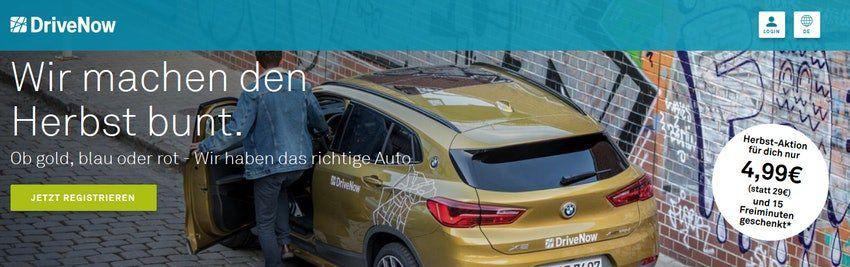 DriveNow Anmeldung nur 4,95€ (statt 29€) inkl. 15 Freiminuten