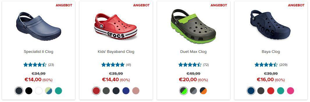 Crocs: bis 50% Rabatt auf ausgewählte Styles