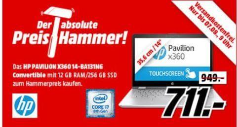 HP Pavilion X360 (14 BA131NG)   14 Convertible mit 256 GB, 12 GB RAM, i7 für 711€ (statt 949€)