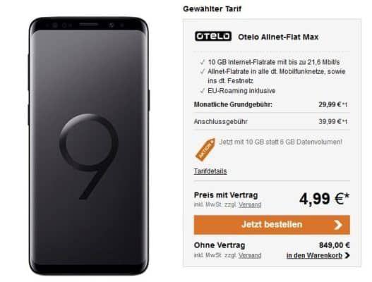 Knaller! Samsung Galaxy S9 für 4,99€ + Vodafone Allnet Flat von Otelo mit 10GB für 29,99€ mtl.