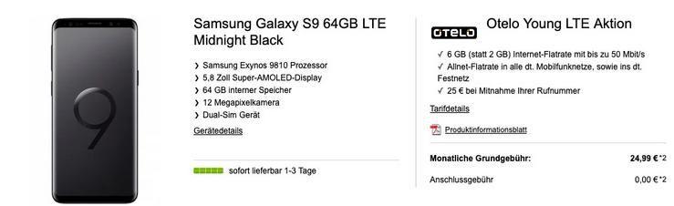 Samsung Galaxy S9 für 4,99€ + Vodafone Allnet Flat von Otelo mit 4GB LTE für 24,99€ mtl.   auch Young mit 6GB LTE