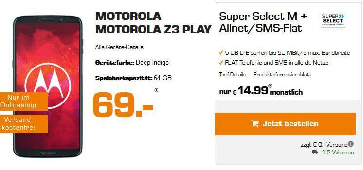 Tipp: Motorola Moto Z3 Play für 69€ + Allnet Flat mit 5GB LTE für 14,99€ mtl. (eff. 0,82€/Monat)