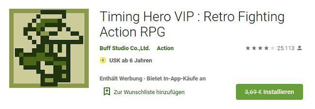 Android: Timing Hero VIP : Retro Fighting Action RPG gratis (statt 3,69€)