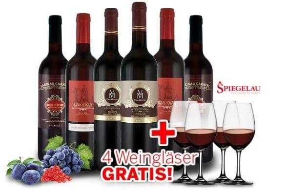 Probierpaket: Exklusive Robert Parker Weine und 4 Spiegelau Rotwein Gläser für 54,85€ (statt 78€)