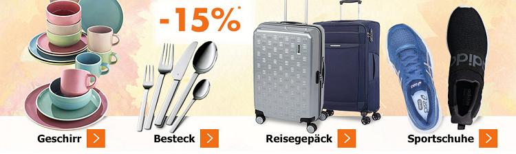 Karstadt Sonntags Kracher mit 20% auf Bettwäsche & 15% auf Geschirr, Besteck, Reisegepäck & Sportschuhe + VSK ab 20€