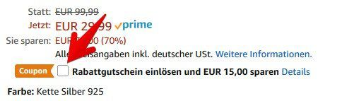 Princess Nina Damenkette 925er Silber Feder für 14,99€ (statt 30€)