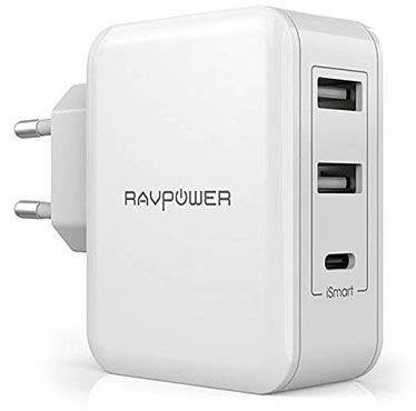 RavPower RP PC060   USB Ladegerät (1 USB C & 2 USB Anschlüsse) für 12,99€ (statt 19€)