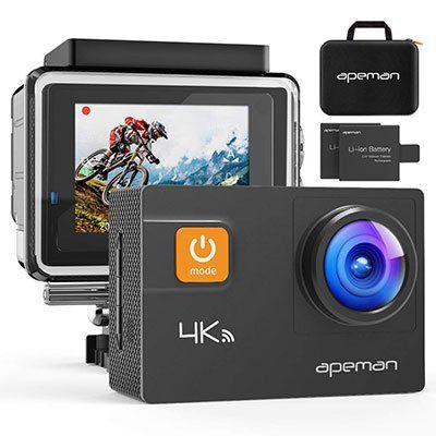 Apeman A80 (2018)   4K Actioncam mit 20 MP & 2 Akkus inkl. Transporttasche für 68,79€ (statt 86€)