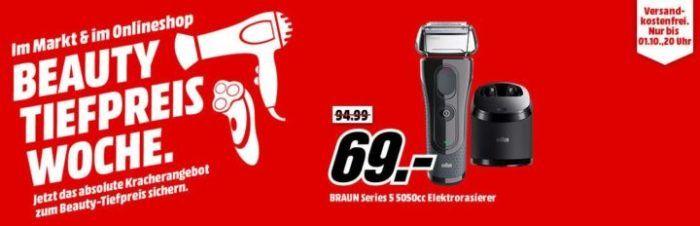 Media Markt Beauty Tiefpreis Woche: heute z.B. BRAUN Series 5 5050cc eRasierer mit Reinigungsstation für 69€ statt 91€   Top!