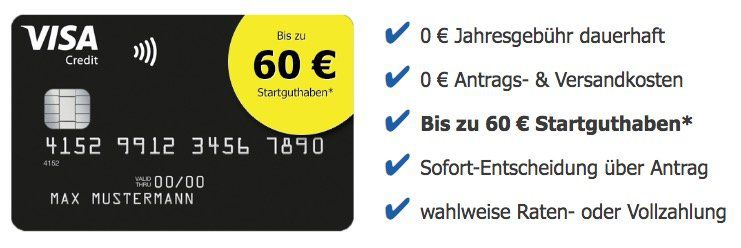 Beitragsfreie Visa Kreditkarte (ein Leben lang) mit fetten 60€ Startguthaben