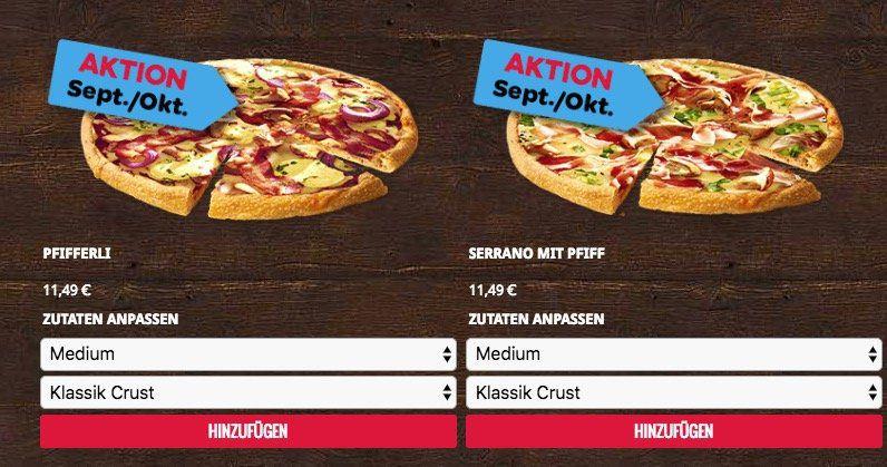 Dominos: 50% auf Pizza Lieferungen von ausgewählten Filialen