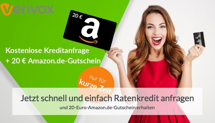 Abgelaufen! Gratis 20€ Amazon Gutschein für Kreditanfrage   kein Abschluss erforderlich!