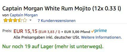 12er Pack Captain Morgan White Rum Mojito Dosen je 0,33 Liter für 18,15€ (statt 30€)   nur für Primer!