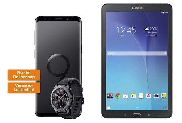 Knaller! Samsung Galaxy S9 + Gear S3 frontier 49€ + Telekom Flat 2GB für 27€ mtl. + gratis Galaxy Tab E