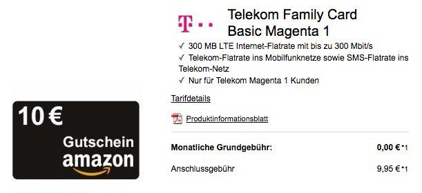 Für Telekom Magenta 1 Kunden: Telekom Family Card Basic mit 300MB LTE + Telekom Flat gratis + 10€ Amazon Gutschein