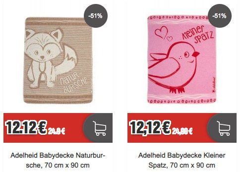 Adelheid Sale bei Top12   z.B. Babydecke Kleiner Spatz für 12,12€ (statt 28€)