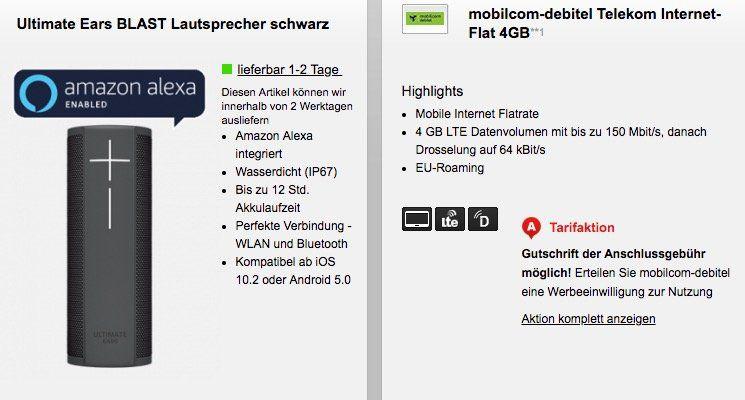 Telekom 4GB LTE Datentarif für 9,99€ mtl. + UE Blast Lautsprecher für 4,95€
