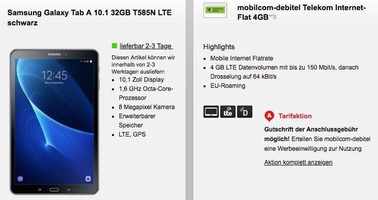 Telekom 4GB LTE Datentarif für 9,99€ mtl. + Samsung Galaxy Tab A 10.1 mit LTE für 29€