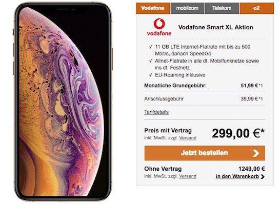 iPhone XS 64GB für 299€ + Vodafone Allnet Flat mit 11GB LTE für 51,99€ mtl.