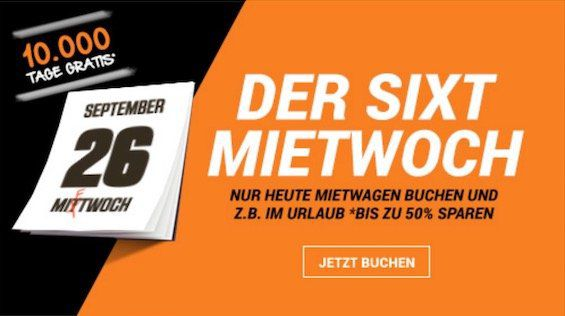 Sixt Mietwoch mit bis zu 50% Rabatt auf Mietwagen   gültig von 2 bis 7 Miettagen (USA 14 Tage)