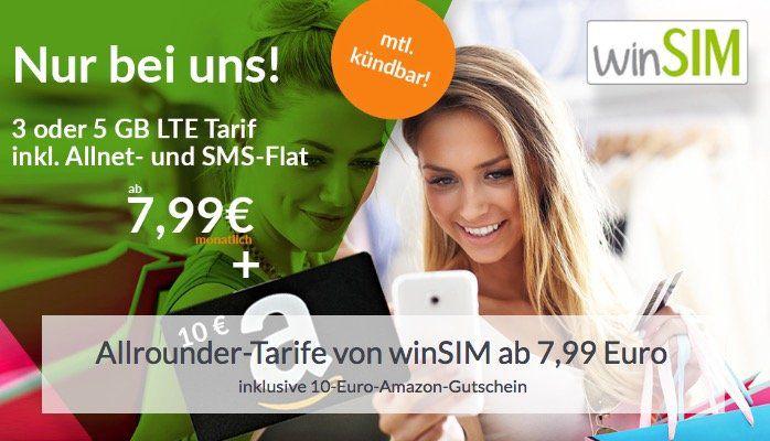 o2 Allnet Flat von winSIM mit 3GB LTE für 7,99€ mtl. (monatlich kündbar!) + 10€ Amazon Gutschein