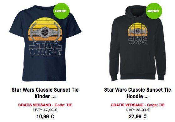 Star Wars Tie Fighter Sunset T Shirt für 10,99€ oder Hoodie für 27,99€