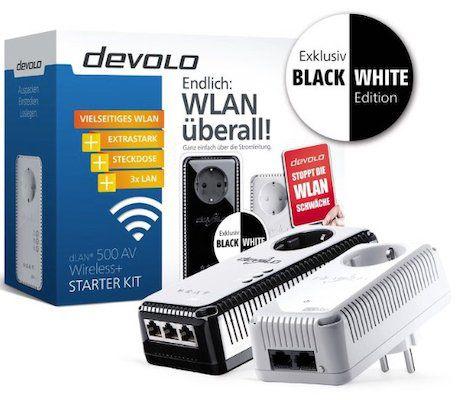 devolo dLAN 500 AV Wireless+ Starter Kit (Powerline, 2x Adapter) Black & White für 69,90€(statt 95€)