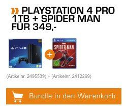 PlayStation 4 Pro 1TB inkl. Spider Man für 349€ (statt 440€)