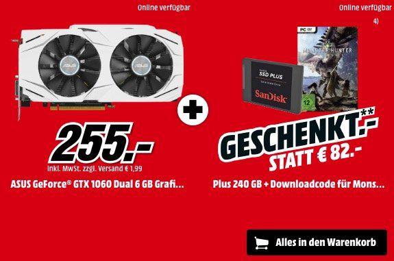 Bestpreis: Asus GTX 1060 Dual 6GB Grafikkarte + SanDisk 240GB SSD für nur 255€ (statt 299€)