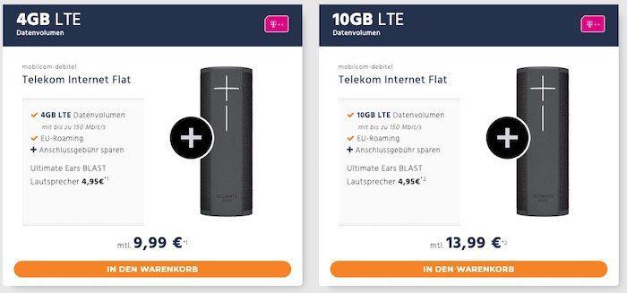 Telekom 4GB LTE Datentarif für 9,99€ mtl. oder 10GB für 13,99€ mtl. + UE Blast Lautsprecher für 4,95€