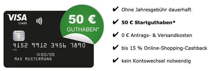 🔥 Schwarze Visa Kreditkarte komplett beitragsfrei (ein Leben lang) + 50€ Startguthaben + Apple Pay fähig