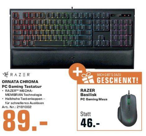 Razer Ornata Chroma Gaming Tastatur + Basilisk Gaming Maus für 89€ (statt 144€)