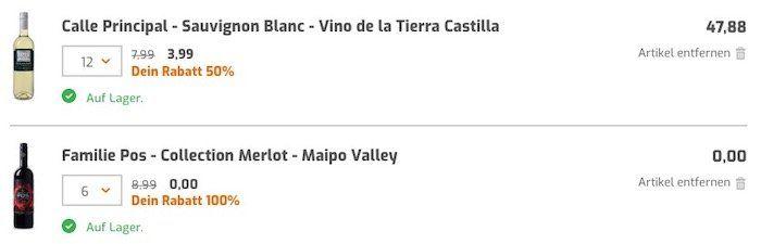12 Weinflaschen kaufen (auch Sale) und 6 Flaschen Merlot (Wert 54€) gratis bei Weinvorteil