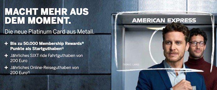 Knaller! 200€ Reiseguthaben pro Jahr + bis zu 50.000 Punkte (bis zu 1.000€ Wert) dank American Express Platinum Card   bitte genau lesen!