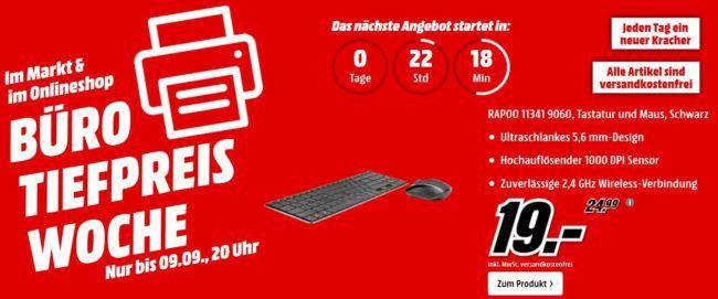 Media Markt Büro Tiefpreis Woche: heute z.B. RAPOO Tastatur und Maus für 19€ (statt 30€)