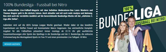 """Freikarten für """"100% Bundesliga   Fussball bei Nitro"""" an verschiedenen Terminen im November/Dezember"""