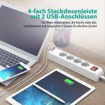 RAVPower 4-Fach Steckdosenleiste mit 2 USB-Anschlüssen, 1,5m Kabel und Wandhalterungen für 12,99€ (statt 17€)