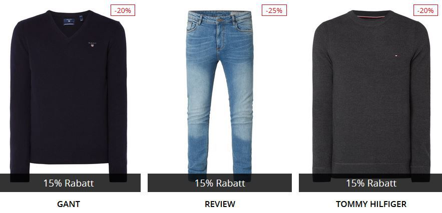 Top! Peek & Cloppenburg* mit 15% Extra Rabatt auf Jeans und Strickwaren bis 10Uhr