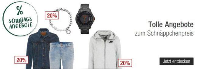 Galeria Kaufhof Sonntagsangebote   20% Rabatt auf Herren  u  Sportfashion, Hot Wheels und Barbie   und vieles mehr