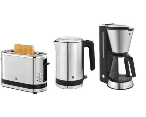 TOP! WMF KÜCHENminis: Edelstahl Frühstücksset mit Kaffeemaschine, Wasserkocher und Toaster für 99€ (statt 149€)