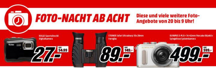 Media Markt Foto Late Night: günstige Kameras und Zubehör   z.B. ROLLEI 22641 Traveler Gimbal für 77€ (statt 88€)
