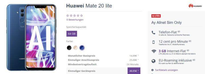 ay yildiz o2 Allnet Flat mit 3GB LTE für 14,99€ mtl. + Huawei Mate 20 lite für 49,95€