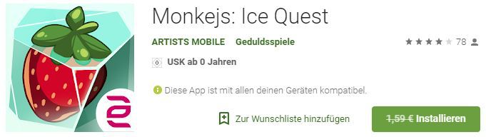 Monkejs: Ice Quest (Android) gratis statt 1,59€