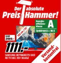 Preishammer: Samsung UE75MU6179   75 Zoll 4K TV mit HDR für 1.111€ (statt 1.339€) + gratis HD+ Modul inkl. Eurosport Paket