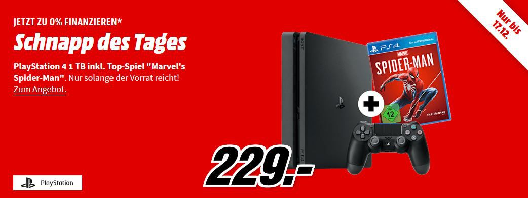 PlayStation 4 Slim 1TB + Spider Man für 229€ (statt 267€)