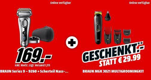 Top! Braun Series 9 9260S Rasierer + BRAUN MGK3021 6 in 1 Multigroomer für 169€ (statt 222€)