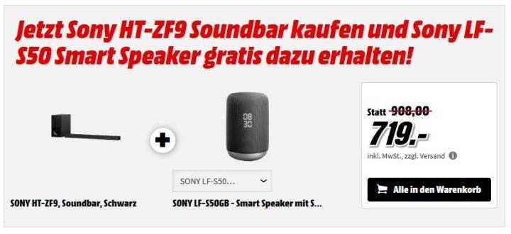 Sony HT ZF9 Soundbar + SONY LF S50GB BT Smart Speaker für 719€ (statt 874€)